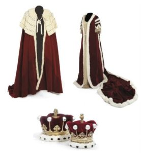 Coronation robes of the Earl and Countess of Tunis; coronets