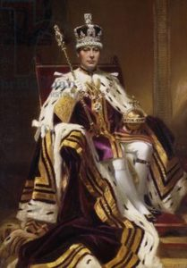King George VI, seated full length, in Coronation Robes