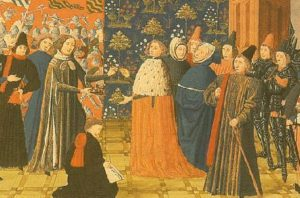 Richrd II surrenders his crown to Henry IV