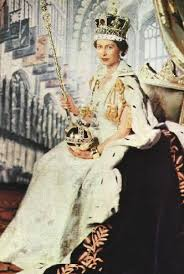 Queen Elizabeth II in full coronation regalia